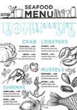 Menu seafood restaurant, food template placemat. Stock Images