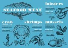 Menu seafood restaurant, food template placemat. Stock Photos