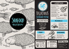 Menu seafood restaurant, template placemat. Royalty Free Stock Images