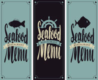 Menu for seafood restaurant. Vector set cover menu for seafood restaurant with a picture of fish and ship helm Stock Images