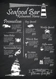 Menu Seafood restaurants Signs,Posters, blackboard Royalty Free Stock Photo