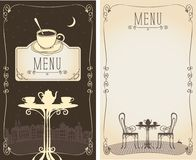 Menu with served table, cityscape, moon and cat. Vector menu for a cafe or restaurant with place for text and image of the table with a kettle and cups on the royalty free illustration