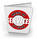 Menu of Services Order Buy Features Products Shopping Stock Image