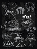 Menu set on chalkboard royalty free illustration