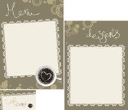 Menu set with lace napkin. Template designs of menu and business card for coffee shop and restaurant Royalty Free Stock Photography