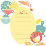 The Menu Sheet for Kitchen. With Utensils and some Food and Drink as a Decoration. Image Made in Warm Pastel Colors Royalty Free Stock Photos