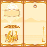 Menu for sidewalk cafe. Menu for a street cafe with a couple in love Royalty Free Stock Images
