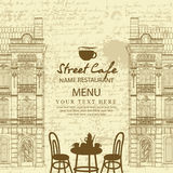 Menu for sidewalk cafe with table and architecture Royalty Free Stock Images