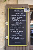 Menu sign. Outside a restaurant in France Stock Photography