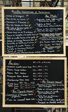 Menu sign. Outside a restaurant in France Royalty Free Stock Images