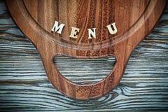 Menu snijdende raad op houten oppervlakte Stock Foto
