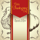 Menu spécial de thanksgiving, illustration de vecteur Photographie stock libre de droits