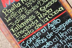 Menu in Spagna Fotografia Stock