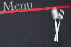 Menu Spoon and Fork with Ribbon Royalty Free Stock Photos