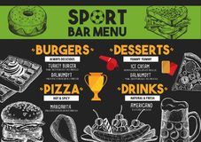 Menu sport bar restaurant, food template placemat. Royalty Free Stock Photos