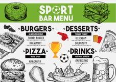 Menu sport bar restaurant, food template placemat. Royalty Free Stock Photos