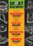 Menu sport bar restaurant, food template placemat. Royalty Free Stock Photo