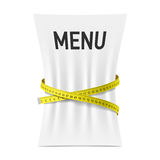 Menu squeezed by measuring tape Royalty Free Stock Photo