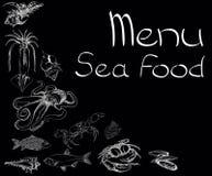 Menu stabilito dei frutti di mare Immagine Stock