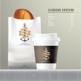 Menu stabilito del pane e del caffè Illustrazione di Stock
