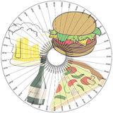 Menu-stand for a dish in a pizzeria or restaurant Stock Images