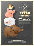 Menu steak house with farm animals Royalty Free Stock Images