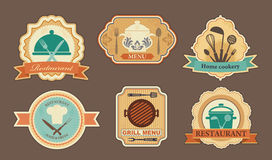 Menu stickers. Stickers on a theme of the menu of restaurant vector illustration