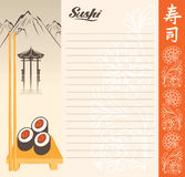Menu for sushi. In a landscape with a lake and mountain. Hieroglyph: Sushi Stock Images