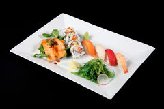 Menu of sushi and grilled fish Stock Image