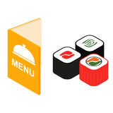 Menu and sushi isometric 3d icon. For web and mobile devices Stock Photos