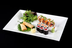 Menu of sushi and roll fish Stock Image