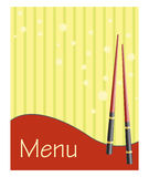 Menu for sushi and rolls. With chopsticks stock illustration