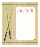 Menu for sushi and rolls. With chopsticks royalty free illustration