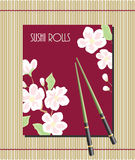 Menu for sushi rolls. With chopsticks and blooming Stock Photos