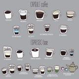 Menu sveglio del caffè Immagine Stock