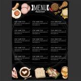 Menu szablonu projekta karmowej restauracyjnej ręki rysunkowa grafika Zdjęcia Royalty Free