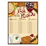 Menu szablonu projekta karmowej restauracyjnej ręki rysunkowa grafika Obraz Stock