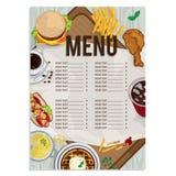 Menu szablonu projekta karmowej restauracyjnej ręki rysunkowa grafika Fotografia Royalty Free