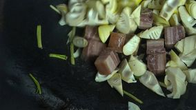 Menu of taditional chinese cuisine. Bamboo shoot is.dainty food growing in mountain royalty free stock images