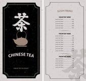 Menu tea with hieroglyph and kettle Stock Photo