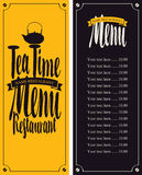 Menu tea with hieroglyph Stock Photo
