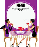 Menu for tea party, two girls drink tea. Vector illustration of poster menu for tea party, two girls drink tea Royalty Free Stock Images