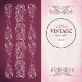 Menu templa  in vintage style. Stylized plant pattern.The booklet vertical format, vertical decorative elements.Wine red and pink. Royalty Free Stock Photography
