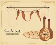 Menu template. Vector drawing of menu template with wine, bread and pepper in old-fashioned style Stock Image