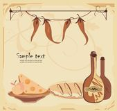 Menu template. Vector drawing of menu template with wine, bread and pepper in old-fashioned style Royalty Free Stock Image