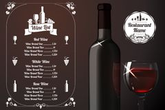 Menu template - for alcohol with realistic red Royalty Free Stock Images
