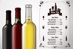 Menu template - for alcohol with three realistic Stock Photo