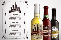 Menu template - for alcohol with three realistic Royalty Free Stock Photography