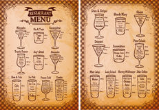 Menu template for alcoholic beverages for restaurant Stock Photo