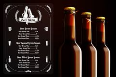 Menu template - beer and alcohol, with place for Royalty Free Stock Image